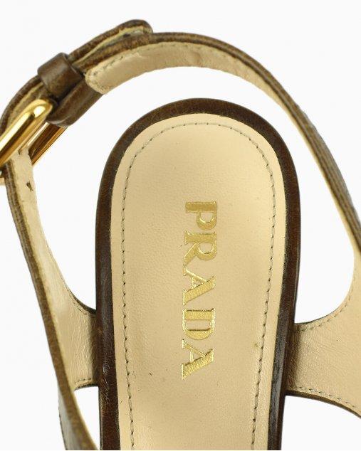 Sapato Prada Plataforma Strappy Marrom