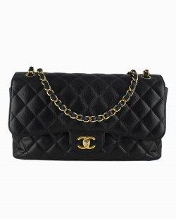 Bolsa Chanel Double Flap Caviar Preta
