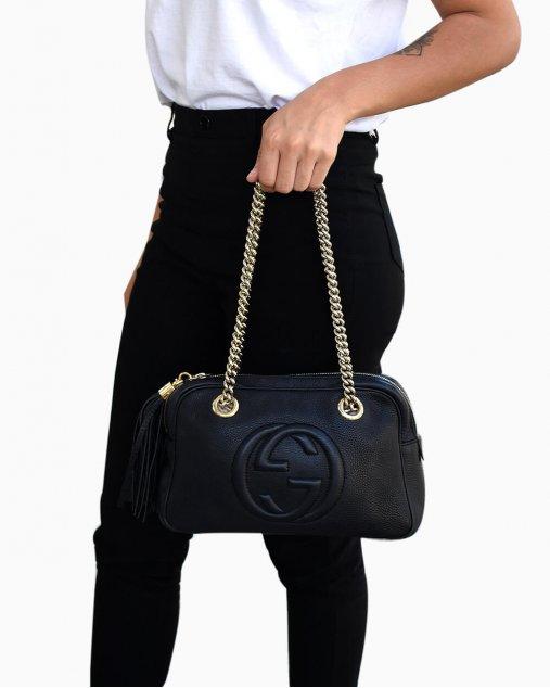 Bolsa Gucci Soho Double Chain Preta