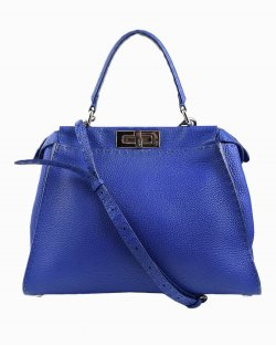 Bolsa Fendi Peekaboo em couro azul