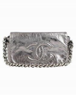 Bolsa Chanel Silver Chain Classic Flap