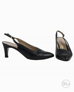 Sapato Chanel slingback vintage em couro azul escuro