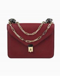 Bolsa Valentino Enamel Panther burgundy