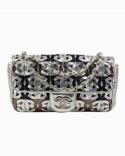 Bolsa Chanel Cut Out Metallic Flap Ltd Ed prata