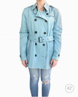 Trench Coat Burberry Azul Claro com Capuz