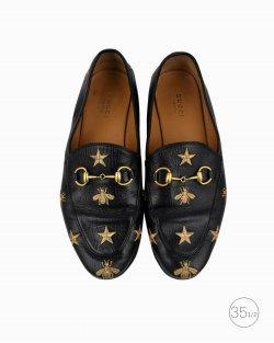 Mocassim Gucci Jordaan Embroidered preto