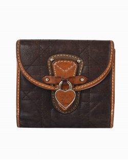 Carteira Dior Cannage Heart Lock Marrom