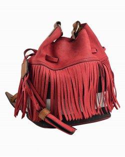 Bolsa Burberry bucket com franjas vermelha