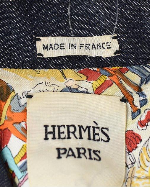 Jaqueta Hermés Cirque Mollier jeans cropped azul