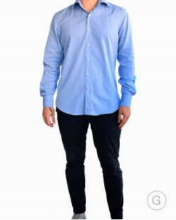 Camisa Salvatore Ferragamo Azul Listras