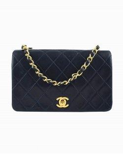 Bolsa Chanel Single Flap vintage azul marinho