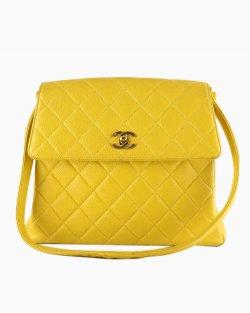 Bolsa Chanel Vintage Caviar Amarela