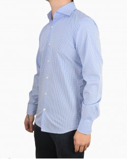 Camisa Hugo Boss micro xadrez azul