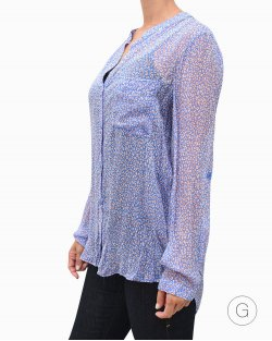 Camisa Diane Von Furstenberg em seda estampada azul