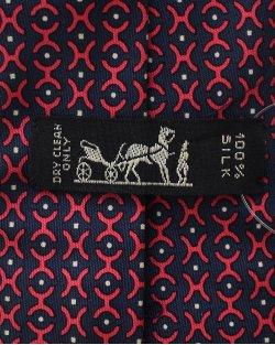Gravata Hermés Azul Marinho e Vermelho Estampado