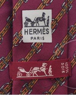 Gravata Hermés Burgundy e Amarelo Estampado