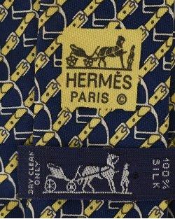 Gravata Hermés Azul e Amarelo Estampado
