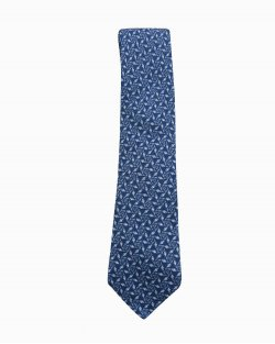 Gravata Hermés Azul Marinho Estampado