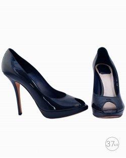 Peep Toe Dior Azul Ciano Vintage