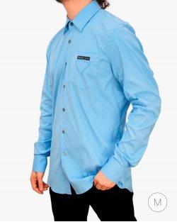 Camisa Prada popeline com logo azul
