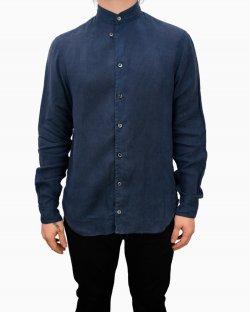 Camisa Giorgio Armani em linho azul marinho