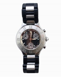 Relógio Cartier 21 Chronoscaph prata e preto
