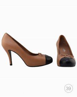 Sapato Chanel bicolor bege