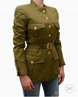 Jaqueta Chanel militar em lã verde oliva