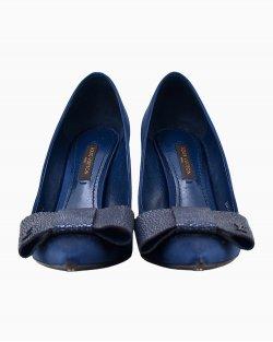 Scarpin Louis Vuitton em seda azul