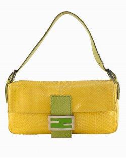 Bolsa Fendi Baguette Python Amarelo