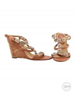 Sandália Chanel camelias marrom