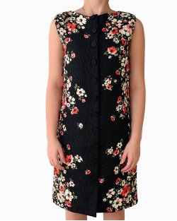 Vestido Dolce & Gabbana floral com fundo preto