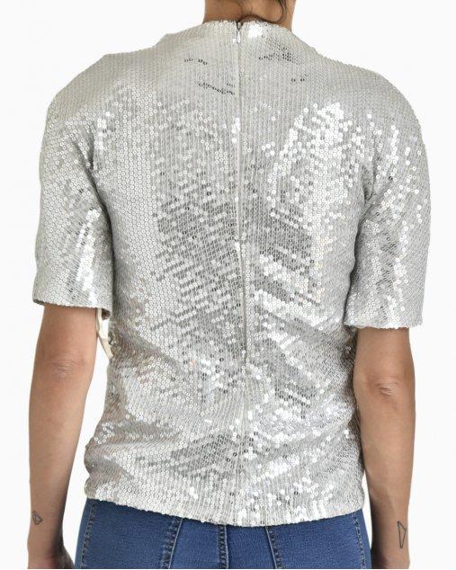 Blusa DVF Tecido com Paetes Prata