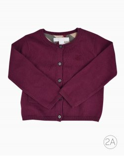 Cardigan Burberry Children Infantil Burgundy