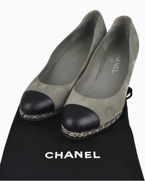 Sapato Chanel Cap Toe Wedge Heels Bicolor