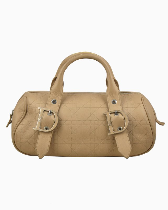 Bolsa Christian Dior Cannage Quilted Leather Bowler Nude