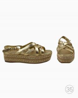 Sandália De Plataforma Prada Dourada