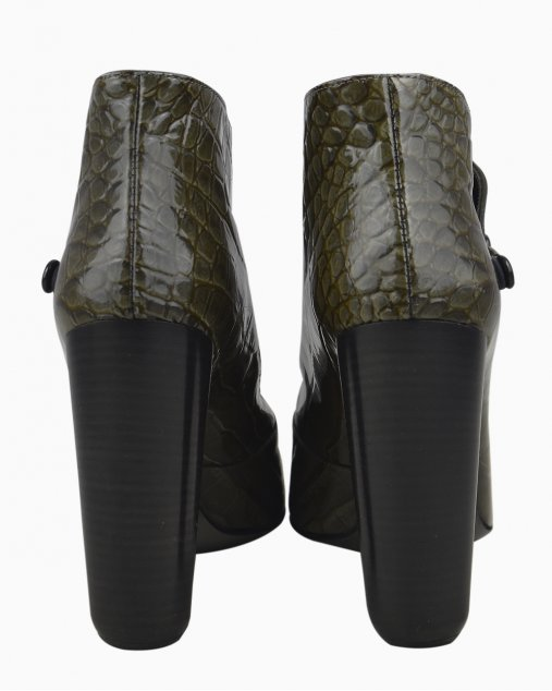 Bota Louis Vuitton Verniz Cano Curto Verde