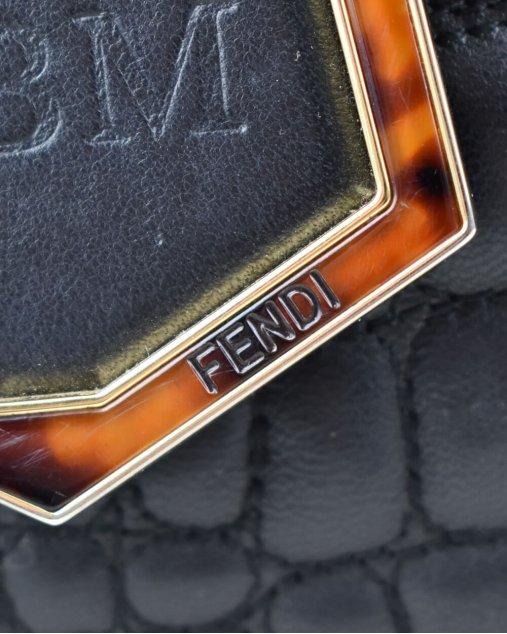Bolsa Fendi 2 Jours Croc Stitched Preta