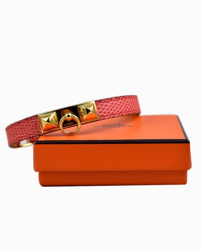 Bracelete Hermès Rivale Double Tour Rosa
