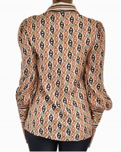 Camisa Gucci Marina Chain Print Shirt With Neck Bow