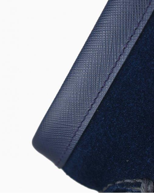 Mocassim Prada de Camurça Azul Marinho