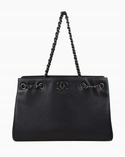 Bolsa Chanel Shopping Tote Dark Navy Preta
