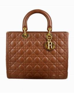 Bolsa Christian Dior Lady Dior Grande Marrom