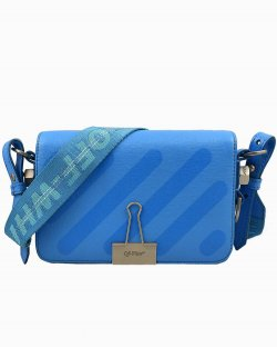 Bolsa Off White Diag Mini Flap Azul