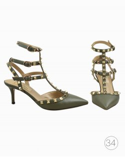 Sapato Valentino Rockstud Verde Militar