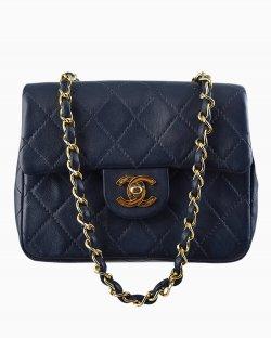 Bolsa Chanel Single Flap Mini Azul Marinho Vintage