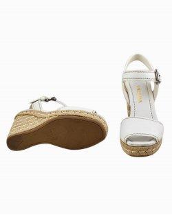 Sandália Prada de couro Branco