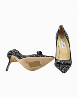 Sapato Jimmy Choo de Camurça  Preto e mini Spikes