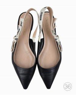 Sapatilha Christian Dior J'Adior Slingback Ballerina Flat de Couro Preto